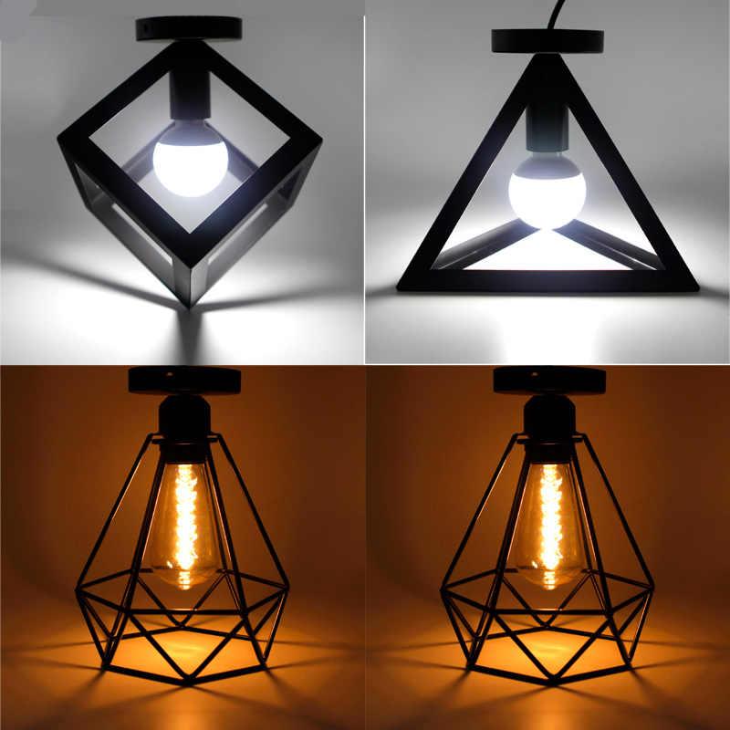 Ferro do vintage Luz de Teto Preto LEVOU Sombra Industrial Moderna Lâmpada Do Teto Iluminação Nórdico Gaiola Luminária Home Living Room Decor
