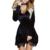 Halter con cuello en v profundo mujeres del cordón velvet dress 2017 labra nuevamente de manga larga de encaje dress casual sexy mini dress vestidos de terciopelo GV500