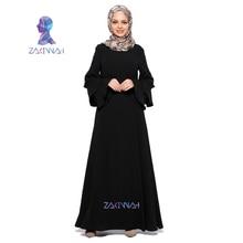 Muslim Women Dress elegant Dubai Turkish solid Ladies Clothing Women Arab Caftan Kaftan Malaysia Abayas