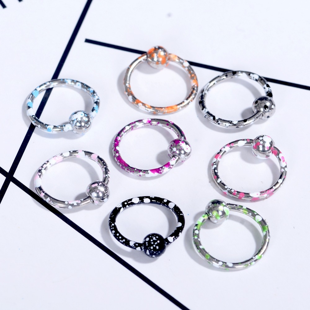 8pcs/set Stainless Steel Circle Ball Bar Lip Nose Hoop Septum Ear Ring Belly Button Body Piercing Jewelry Wholesale