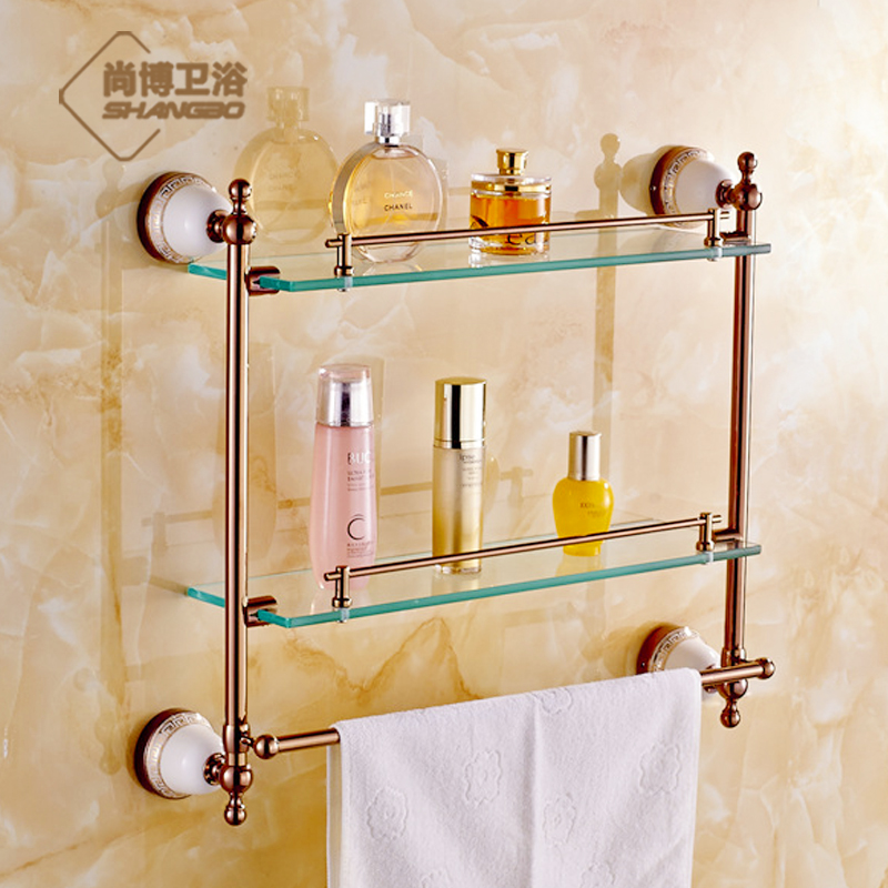 Free shipping gold rose gold stainless steel shower door for Gold glass bathroom accessories