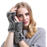 YCFUR Echte Rex Kaninchenfell Handschuhe Frauen Warm Dame Pelz Handschuhe Warme Winter Weibliche Elastische Handschuhe Handschuhe Für Frauen