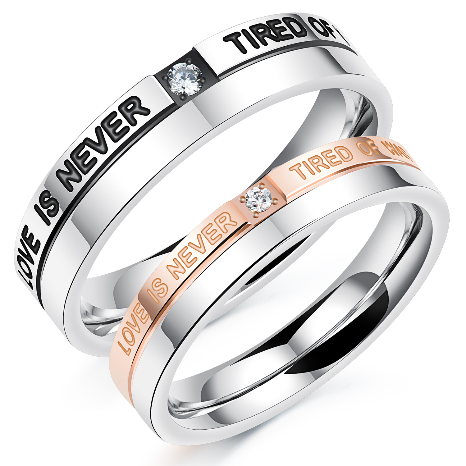 Romantic Lovers Stainless Steel Couples Wedding Rings Black & Rose Gold  Color With Cubic Zirconia Jewelry