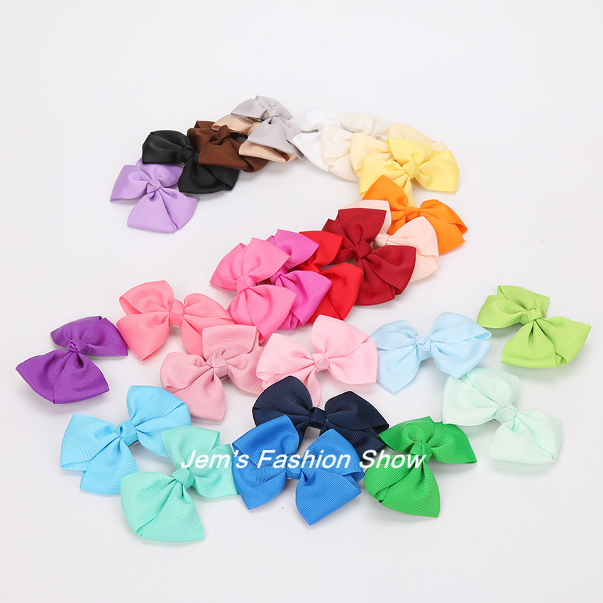 100pcs/lot Girls Grosgrain Satin Dovetail Ribbon Bowknot Hair Pin Bows Duckbill Clip Girls' Hair Accessories Boutique Bows