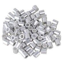 100 шт 3 мм Толщина троса круглый алюминиевый рукав зажим наконечник M3 серебро