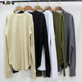 Hip Hop Fashion men`s Cotton Blended Longline T Shirts Elongated Solid Color Long Sleeves O-Neck Extended Tee Shirt For Hipster