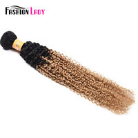 Fashion Lady Pre Colored Peruvian Curly Hair Ombre 1b/27 100% Human Hair Blonde Kinky Curly Hair Weave Bundles 1 Piece Non remy