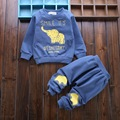 Active 2017 spring baby clothing set with cute animal elephant o-neck tees trousers tracksuits for toddler boys girls clothes