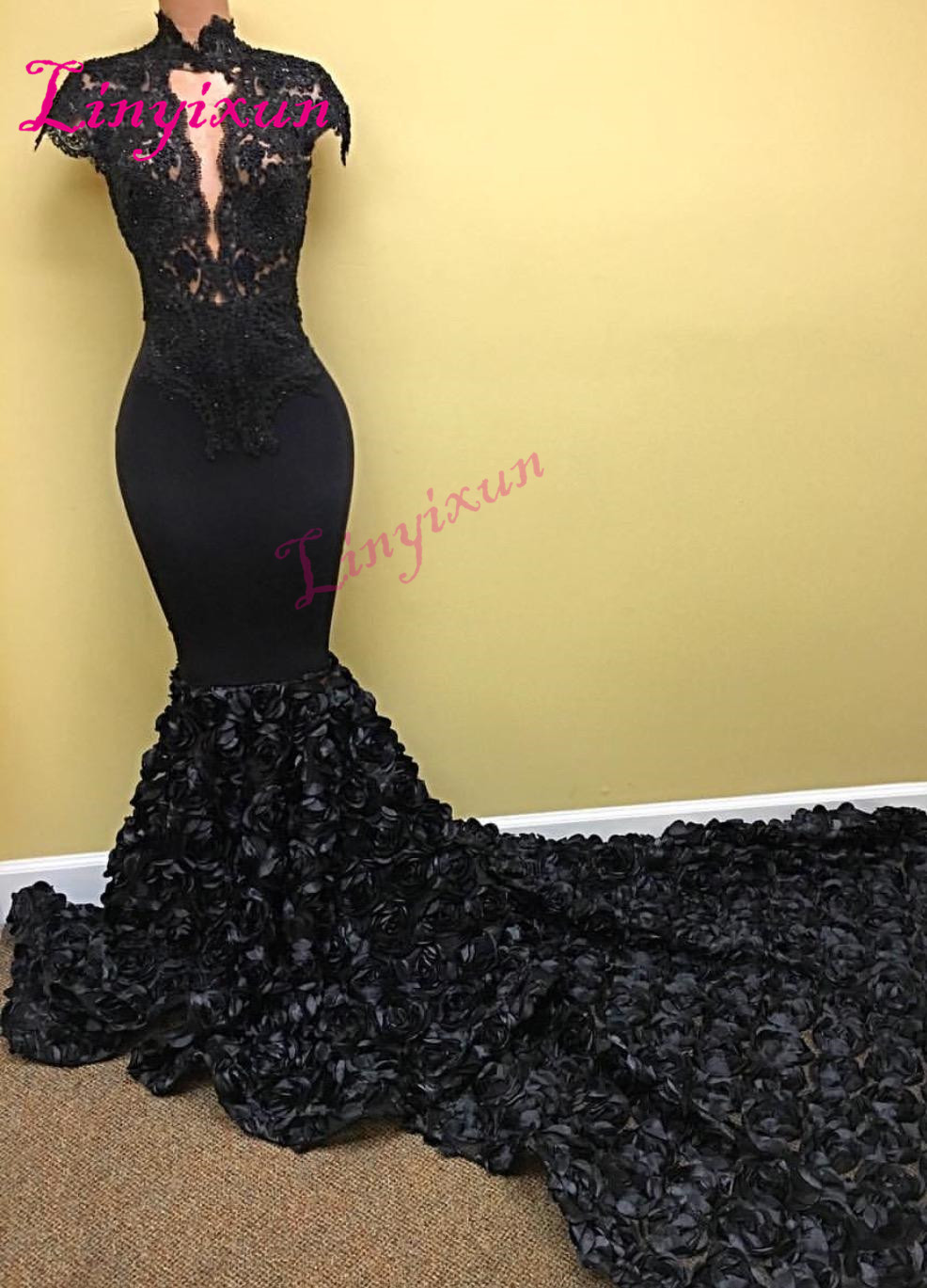 Linyixun Sexy Mermaid   Prom     Dresses   2018 High Neck Cap Sleeves Flowers Lace Long Chapel Train Formal Party Gown Evening   Dress