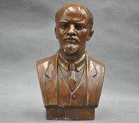 Trang trí bằng đồng nhà máy Đồng Thau Nguyên Chất Cổ Xưa 7 '' Xây Dựng Liên Xô Leader Vladimir Ilyich Ulyanov Lenin Ngực Đồng Tượng