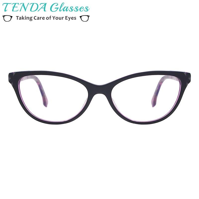 Acetate Fashion Eyewear Women Cat Eye Glasses Frame With Spring Hinge For Multifocal Myopia Lenses