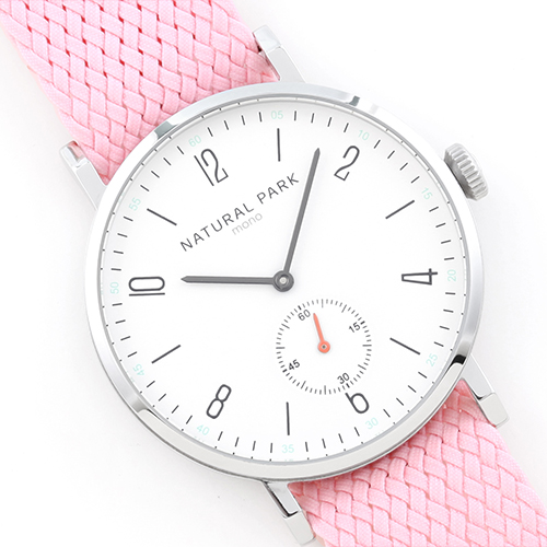 Pink Nylon Strap With White Dial Simple Men Fashion Quartz Watches Japan movement 2016 New Clock 3 atm NP1314MWHRD np shock resistant waterproof watch men 2016 new nylon sport watches ultra slim watchcase men s fashion clock large white dial