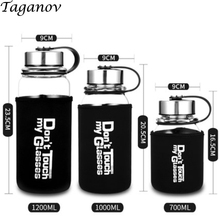 Drinkware Large capacity glass with Tea Infuser & case 700 ml 1000 ml 1200 ml Portable Sport tea water heat-resistant glass gift