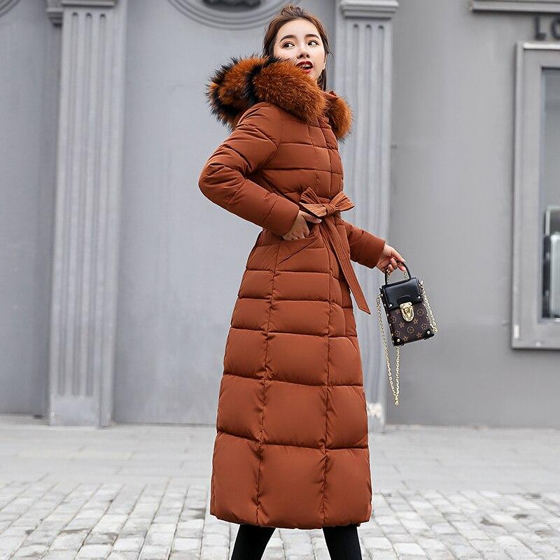 KUYOMENS Nouvelle Arrivée Femmes Veste D'hiver Col De Fourrure À Capuchon Vers Le Bas Coton Femmes Manteau parka Longue Parka Chaud Épaissir Outwear - 5