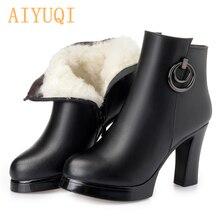 ankle boots High heel  2019 genuine leather women boots winter fashion wool female snow boots enkellaarsjes voor vrouwen недорго, оригинальная цена