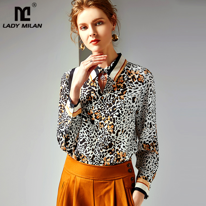 2019 100 Pure Silk Shirts Women s Turn Down Collar Long Sleeves Sexy Keyhole Leopard Printed