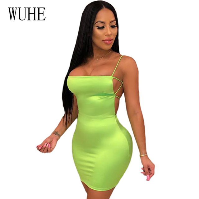 8f57c73c29a3c US $10.07 27% OFF|WUHE Summer Backless Hollow Out Sexy Bandage Dress Neon  Green Women Sleeveless Mini Slim Bodycon Club Party Pencil Dress Robe-in ...
