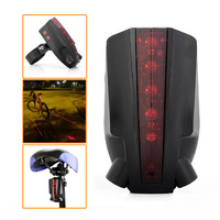 3 Pcs Of Intelligent LED Bicycle Laser Taillight Bike Rear Light With 5 LED 2 Laser