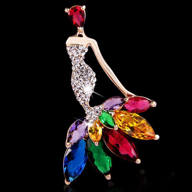 2017 Nova Moda Jóias de Alta Qualidade Acessórios Broche Para A Menina Mulheres Colorido de Cristal Menina Ballet Cachecol Lapela Pin Broches