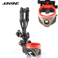 5 Pin Compound Bow Sight with Sight Light Adjustable Sight Green Bubble Level Left and Right Hand Universal for Hunting Shooting