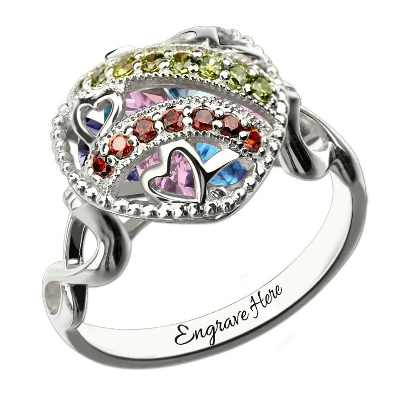 AILIN coeur en cage médaillon infini bague en argent Sterling pierre de naissance anneau gravé infini cadeau de la mère pour grand-mère