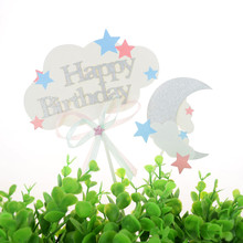 20 Set Cake Toppers Flags Cloud Stars Moon Topper Kids Happy Birthday Wedding Baby Shower Baking Party DIY Xmas Decor