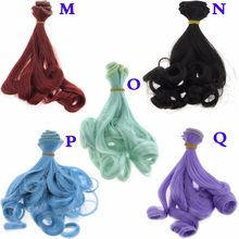 15CM*100CM Curly Wigs Rinka Haircut Pure Green Blue Color Fashion High Temperature Wig DIY Doll Hair For Barbie Doll Accessories(China)