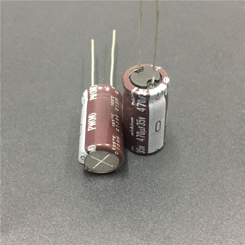 50pcs 470uF 35V NICHICON PW Series 10x20mm Low Impedance Long Life 35V470uF Aluminum Electrolytic Capacitor