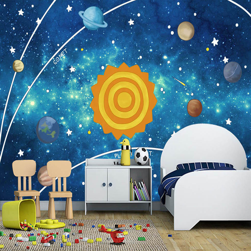 Custom Photo Mural Blue Cartoon Starry Planet Children's Room Bedroom Background Non-woven Wallpaper Murals Papel De Parede 3D custom children wallpaper multicolored crayons 3d cartoon mural for living room bedroom hotel backdrop vinyl papel de parede