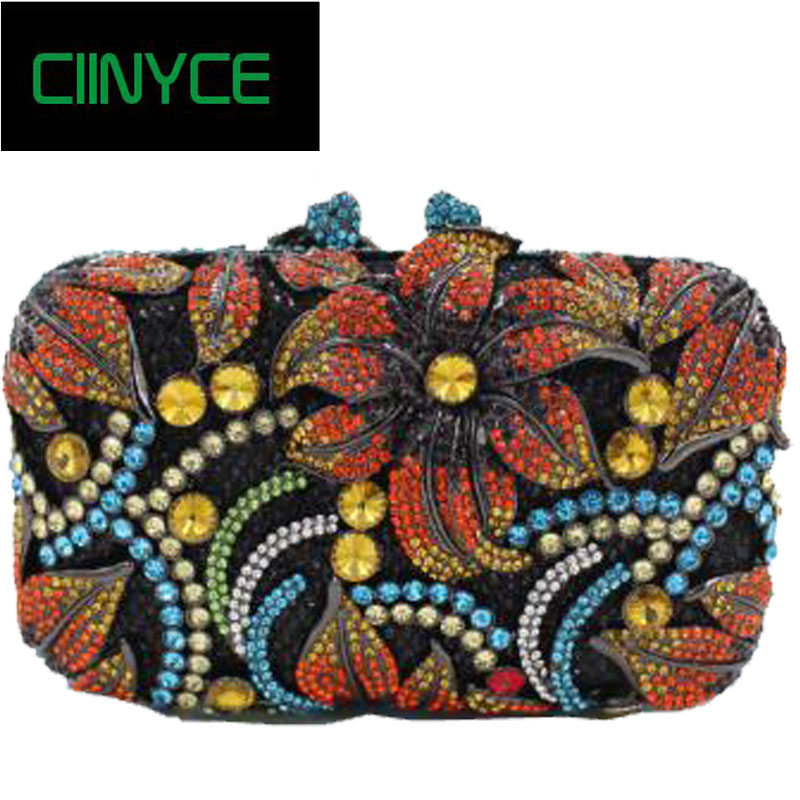 New Both Side Diamond Flower Crystal Beaded Evening Bag Clutch Bags Hot Styling Day Clutches Lady Brides Wedding Purse new single side figer diamond crystal evening bags clutch rhinestones handbag hot styling day clutches lady wedding women purse
