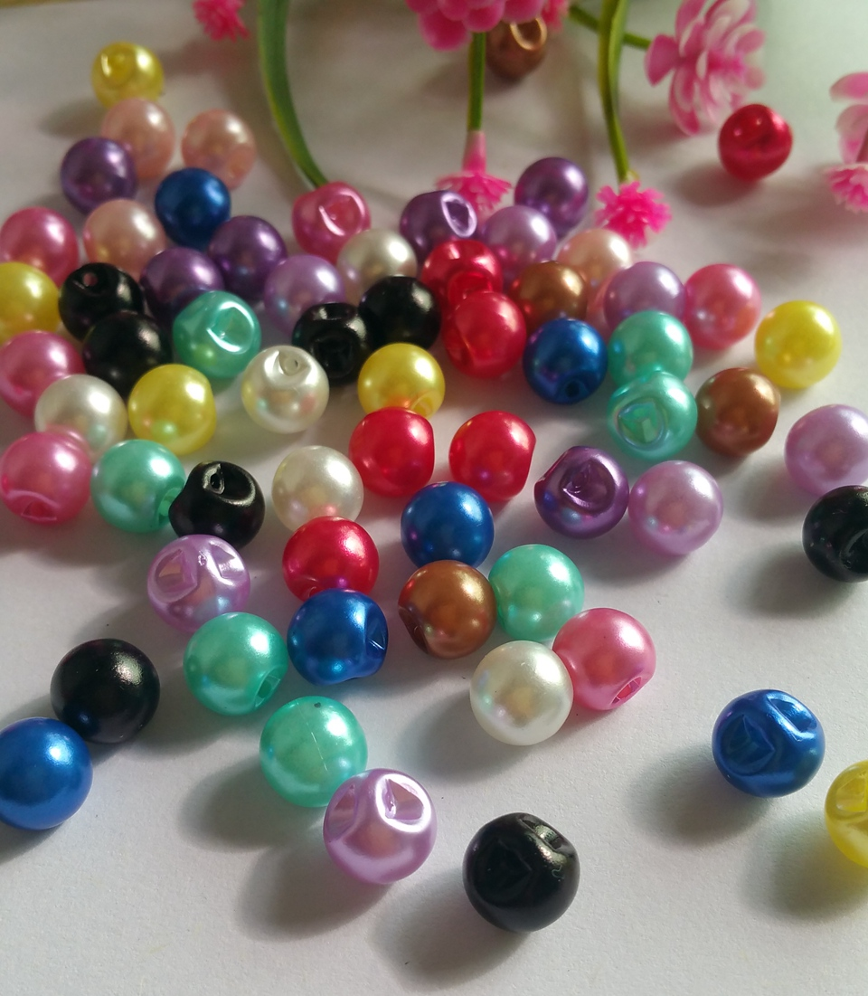 Mixed Colorful pearl buttons 200pcs/lot 10mm side hole Sewing buttons garment crafts botoes scrapbook accessory