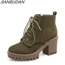 Jianbudan Casual Mode Herfst Dames Enkellaarsjes Platform Hoge Hak Laarzen Vrouw Antislip Winter Katoen Laarzen Maat 34 43
