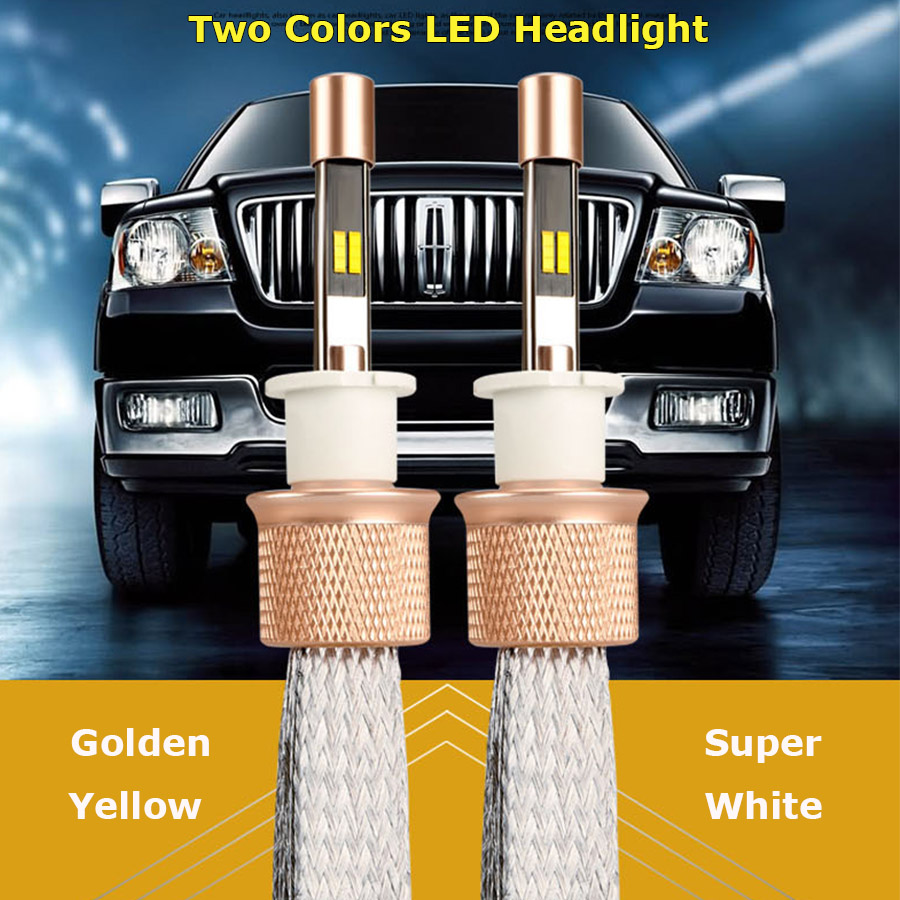 2PCS Automobiles H11 Led Bulbs Dual Color 6000k Headlight 3000k Fog Light 90w 9600lm Auto Led Light Car Driving Car Light Bulbs