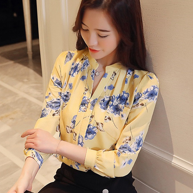 1dc7fe57 2018 V-Neck Chiffon Blouses Slim Women Chiffon Blouse Womens Tops And  Blouses Autumn Fashion Office Work Wear Shirts Z0001