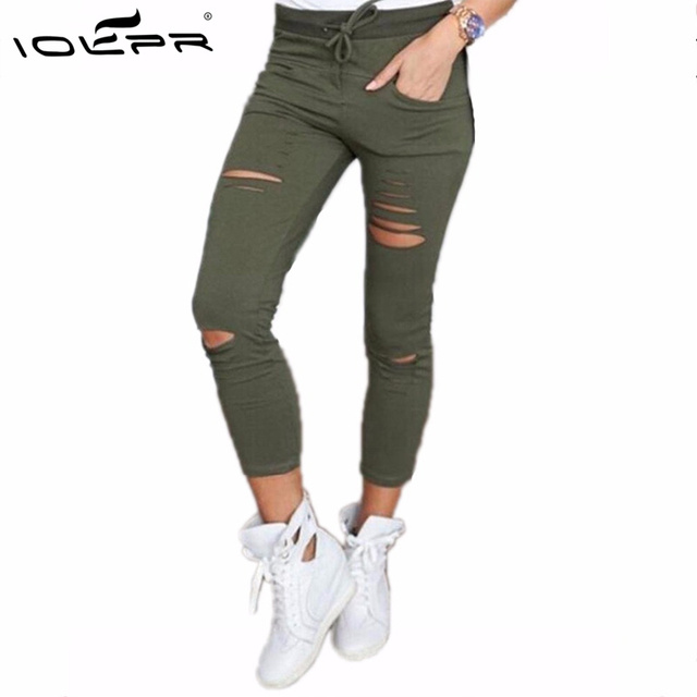 IOLPR women leggings hole ripped casual skinny high waist leggins cotton elastic pencil pants female sexy trousers plus size 4XL