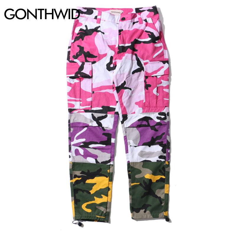2019 Tri Color Camo Patchwork Cargo Pants Men's Hip Hop Casual Camouflage Trousers Fashion Streetwear Joggers Men Sweatpants - 3