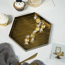 Bandejas geométricas de escritorio nórdicas para el hogar, plato de Metal para comida y fruta, organizador de maquillaje, plato de joyería, bandeja decorativa Vintage para fiesta en casa