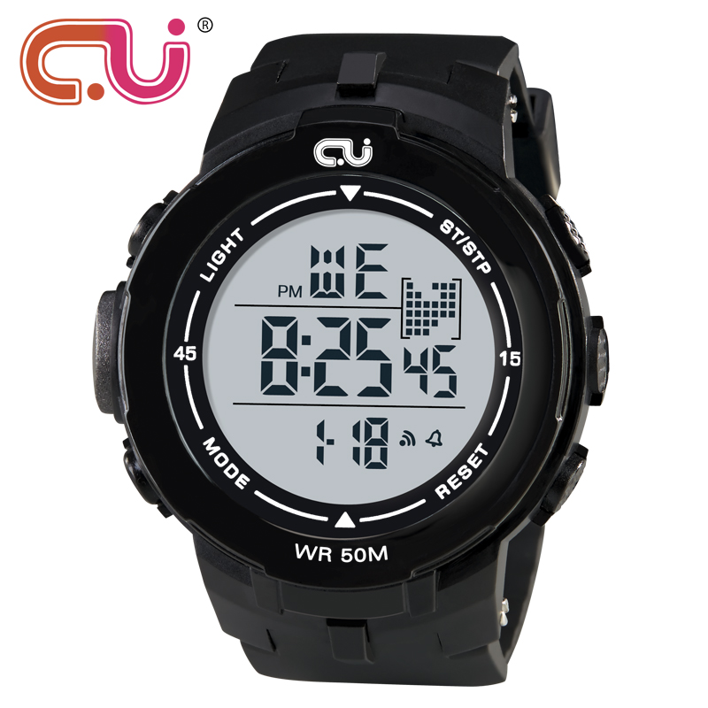 2018 New Brand CU Watch Men Military Sports Watches Fashion Waterproof LED Digital Wristwatches For Mens Outdoor Clock 2016 brand o t s fashion outdoor sport waterproof led mens clock digital
