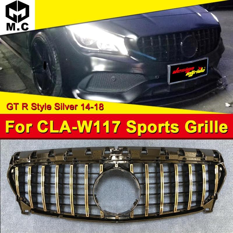 Convient pour CLA-W117 Grille de pare-chocs avant maille GT R Style ABS argent CLA180 CLA200 CLA250 CLA45AMG sans emblème Griller 2014-2018