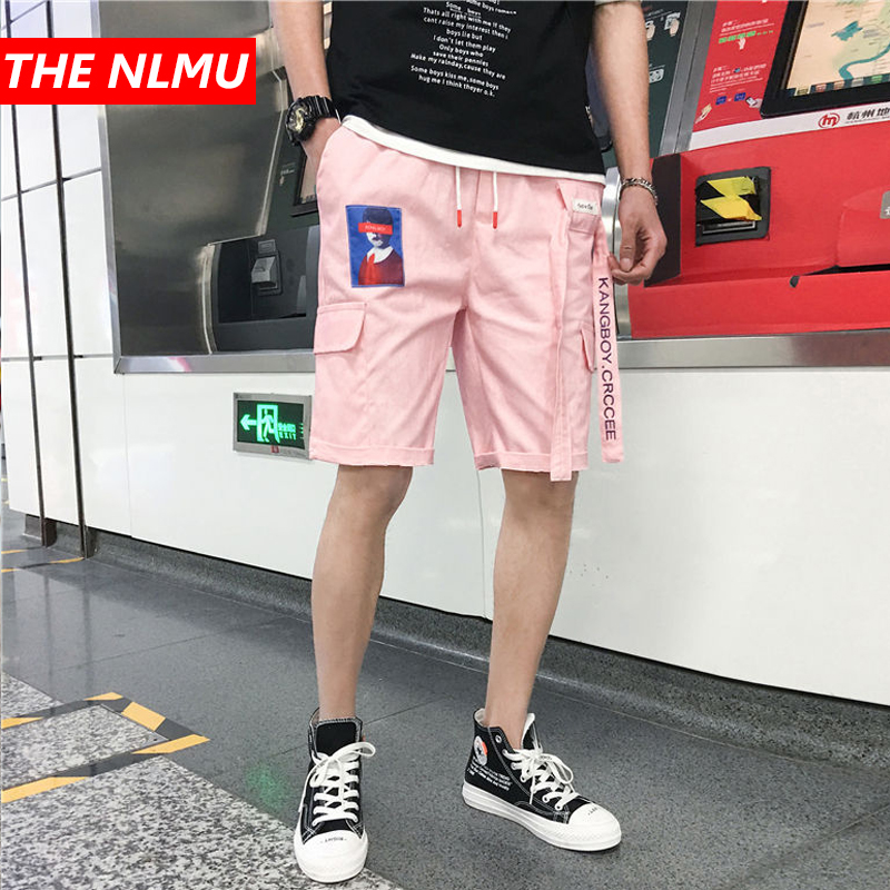 Hip Hop Casual Shorts Men Ribbons Design Shorts 2019 Summer Fashion Male Short Jogger Streetwear Black Pink WG216