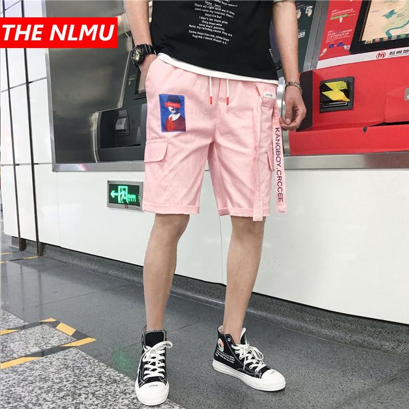 Hip Hop Casual   Shorts   Men Ribbons Design   Shorts   2019 Summer Fashion Male   Short   Jogger Streetwear Black Pink WG216