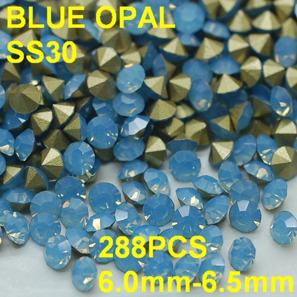 SS30 288pcs/bag Opal Rhinestones for Sexy LadiesNail Art Point Back Rhinestone Jewelry Decoration 6.0mm-6.5mm Blue Color