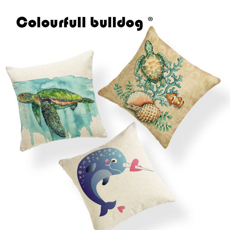 Narwhal Turtle Cushion Cover Pillow Case Blue Ocean Coral Pillowcase Classic Couch For Sofa Pillow With Cover 45X45Cm Polyester