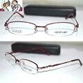 Оптическая на заказ оптических линз титановый сплав half-диска нью-глубокий красный овальная рамка женщины очки для чтения 1 + 1.5 + 2 + 2.5 + 3 + 3.5 до + 6