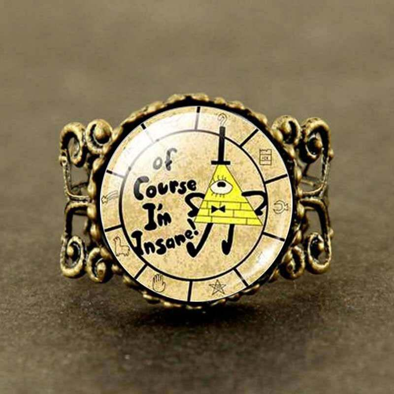 2019 Latest Design 1pcs/lot Long Steampunk Drama Gravity Falls Bill Cipher Picture Glass Cabochon Ring Jewelry Mabel Pig Firm In Structure Jewelry & Accessories