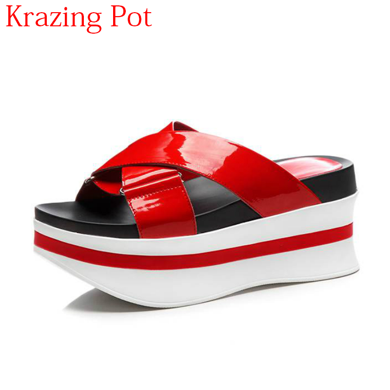 2018 New Arrival Cow Leather Peep Toe Brand Summer Shoes Slip on Outside Slippers Thick Bottom Mules  Beach Woman Sandals L602018 New Arrival Cow Leather Peep Toe Brand Summer Shoes Slip on Outside Slippers Thick Bottom Mules  Beach Woman Sandals L60