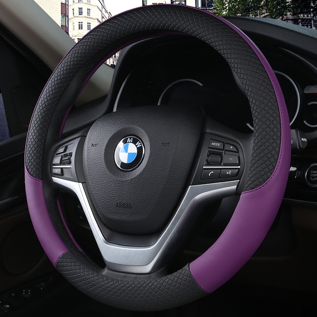 100% DERMAY Brand Leather Universal Car Steering-wheel Cover 38CM Car-styling Sport Auto Steering Wheel Covers Anti-Slip
