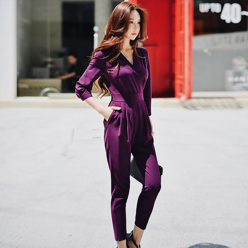 Dabuwawa Spring New Elegant Jumpsuits for Office Lady Girls Women New 2019 High Waist Slim One