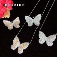 HIBRIDE European Style Fashion Butterfly Design Necklace Ring Set Women Jewelry Small Link Pendientes bijoux enfant N 645