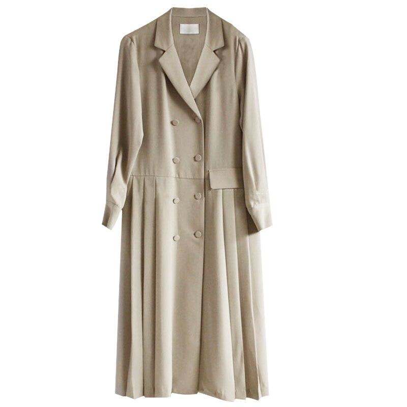 Lanmrem 2019 뉴 여름 패션 여성 의류 턴 다운 칼라 풀 슬리브 pleated 더블 브레스트 윈드 브레이커 wg81104l-에서트렌치부터 여성 의류 의  그룹 1